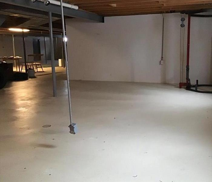 concrete basement cleaned and sanitized