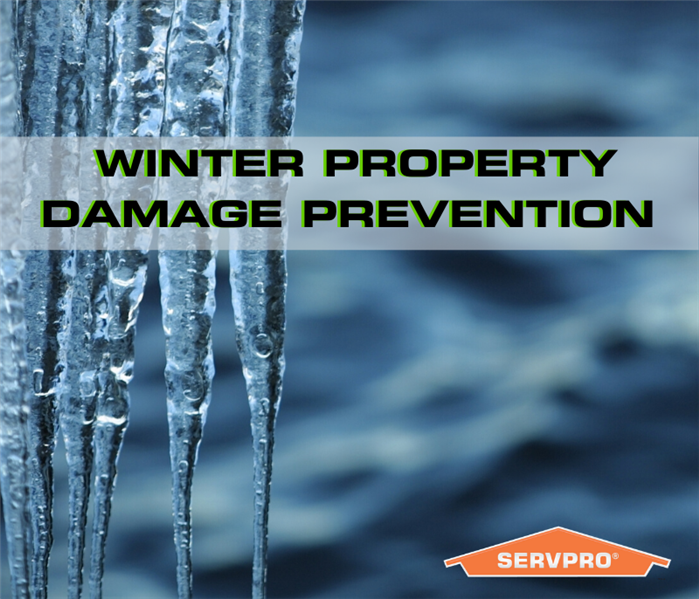 "icicles with the text ""winter property damage prevention"" and SEVPRO rooftop logo"