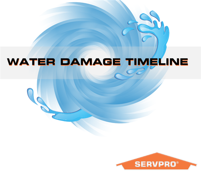 "Water splash with the text ""water damage timeline"""